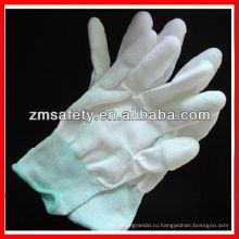 Белый ПУ инспекция белый нейлон перчатки