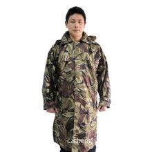 Woodland camouflage raincoat, polyester fabric with PU coating