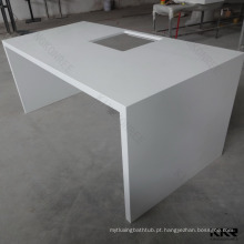 Bancadas de barra branca de pedra artificial, topos de barra de superfície sólida