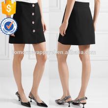 Senhora do escritório preto a linha mini-saia de verão com botão de manufatura atacado moda feminina vestuário (ta0018s)