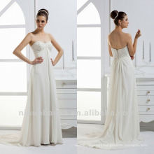Simple Sweetheart Applique Beads Sheath Corset Closure Court Train Small Handmade Flower Wedding Dress Bridal Gown