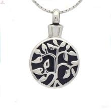 Prata redonda cremação pingentes de jóias, esmalte medalhão para cinzas de cremação