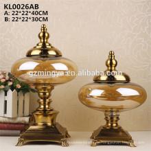 Boda de recuerdo de vidrio artesanías para la decoración del hogar real botella de vidrio amarillo con soporte de metal