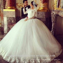 2016 Puffy Lace Beaded White Long Sleeve Arab Wedding Gowns robe de mariage Ball Gown Wedding Dresses CWF2357