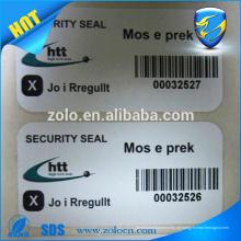 heiß! Sicherheitspapier Etikett / Aufkleber