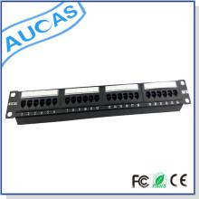 Cat6 Montaje en pared Montaje en bastidor / panel de conexión en blanco con encaje a presión / manejo de cables apantallado