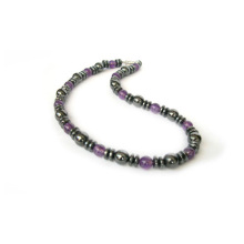 Amethyst Hematite Gemstone Necklace