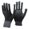NMSAFETY full coated black nitrile dotted hand slip resistant gloves