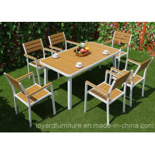 Cheap Modern European Aluminum Outdoor Dining Table Polywood Chair Outdoor Garden Furniture Set