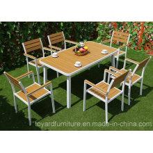 Mesa de jantar de alumínio moderna e moderna de mesa de jantar Outdoor Polywood Chair Outdoor Garden Furniture Set