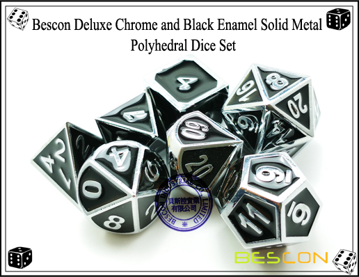 Bescon Deluxe Chrome and Black Enamel Solid Metal Polyhedral Role Playing RPG Game Dice Set (7 Die in Pack)-6