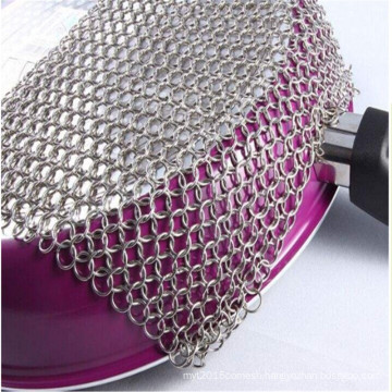 Zero Defect Stainless Steel Mesh Chainmail Scrubber/ Iron Cast Cleaner