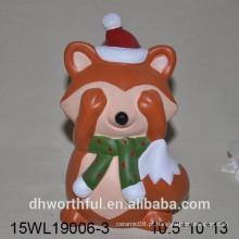 Handpainting laranja animal desenho cerâmica raposa estatueta