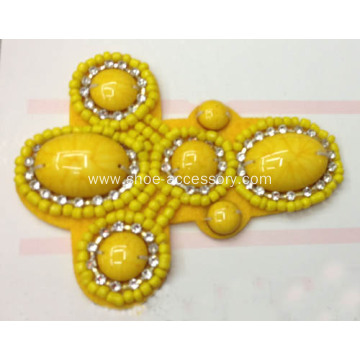 2014 New Handmade Footwear Trimming, Fashion Accessories of Shoe Clips with Yellow Beads Sewn Together