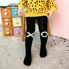 Jacquard Little Girl Collar de Algodón Fancy Designs Negro y Blanco Color Collar Pantyhose