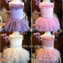 Lovely Tulle abgestuft Mini kurzen trägerlosen Blumenmädchen Kleid Brautkleid