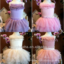Lovely Tulle Tiered Mini vestido de noiva de vestido de menina de flor sem alças