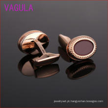 Abotoamento de ouro rosa chapeamento de pedra Natural Oval Cufflinks L51920