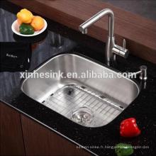 Évier de cuisine en acier inoxydable SUS 304 à cuve unique en acier inoxydable, évier de bar