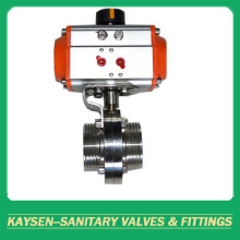 SMS Sanitary Aluminium Pneumatic Threaded Butterfly Valve