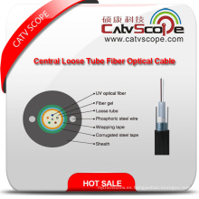 Alta calidad GYXTW Metallic Strength Member Tubo central llenado Sheel-PE de fibra óptica al aire libre Cable de fibra