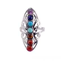 New Hollow Rhinestone Copper Healing Chakra Stone Open Adjustable Rings