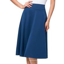 Высокое Катя Касин Окцидента женские эластичные Йель синий хлопок высокая Талия-линии юбка-клеш KK000279-4
