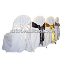 tampas da cadeira de casamentos com faixas de cadeira, tampas da cadeira do poliéster para banquetes, casamento, hotel