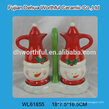 2016 popular design ceramic oil bottle,ceramic vinegar bottle in snowman shape