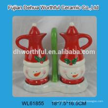 2016 популярная бутылка керамического масла конструкции, керамическая бутылка уксуса в форме снеговика