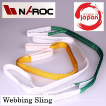 Webbing sling belt for luggage lifting. Manufactured by Naroc Rope Tech. Made in Japan (nylon sling belt)
