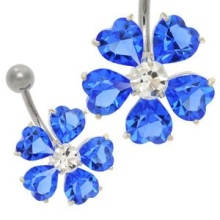Blue Flower CZ Jewel Belly Button Bar