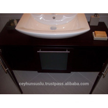 Vanité de salle de bain vénitienne Wenge avec comptoir en bois avec porte coulissante glacée