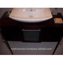 Wenge Veneered Bathroom Vanity with Wooden Countertop with Glazed Slide Door