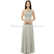 2017 venda quente novo longo partido ombro único chão / um ombro tocando vestido de noite na cor cinza