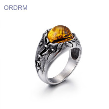 Perhiasan Stainless Steel Mens Dragon Eye Ring