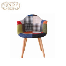Hot sales Patchwork Fabric cover Leisure Plastic leisure wooden fabric dining Armchairs