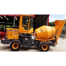 Mobile self-feeding concrete mixer