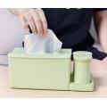 Bamboo Tissue Box Napkin Holder with Toothpick Holder
