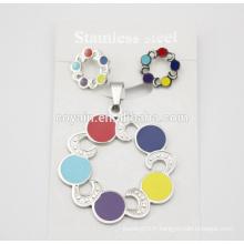 La mode la plus nouvelle Fashion Enamel Flower Girl Dress Elegant Flower Rainbow Rainbow Set