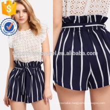 Belted Ruffle Waist Striped Shorts Manufacture Wholesale Fashion Women Apparel (TA3006B)