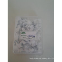 White Circle Nail Clips in Crystal Plastic Box