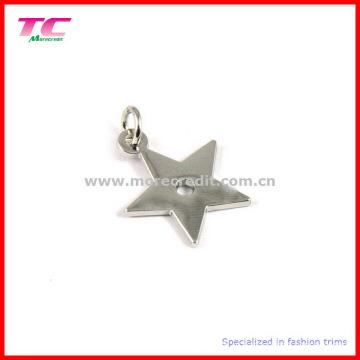 Moda estrela forma pingente de prata do encanto do metal