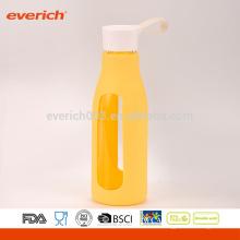 Botella de jugo de vidrio de 600 ml, botella de vidrio, botella de leche con tapa de la manija