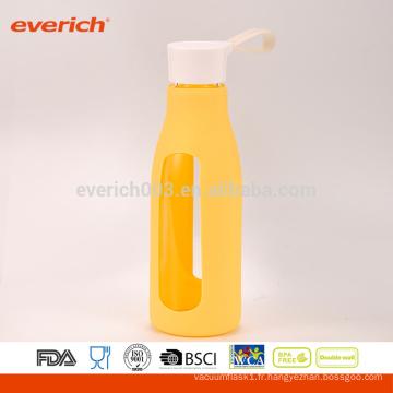 Bouteille à jus de verre 600ml, bouteille en verre, bouteille de lait avec couvercle à poignée