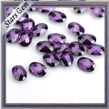Good Quality Amethyst Color Double Checker Cut Oval CZ Stone