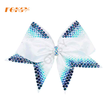 Gradient blue heat press strass cheer bow transfer
