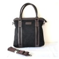 Leather Mix Canvas Luggage Handbag for Traveling
