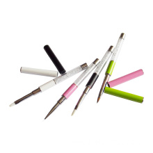 Eeesa 4 Pcs Crystal Brushes Plastic Handle Diamond Kolinsky Nail Art Acrylic Nail Gel Nail Brush Set
