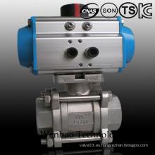 Válvula de bola flotante roscada hembra 3PC con el actuador neumático